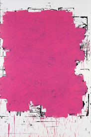 A Christopher Wool painting from 1994. White background, with black and pink enamel.
