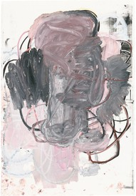 A gray and pink painting by Christopher Wool. Abstract.