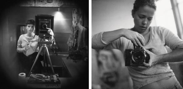 Left: Sally Mann,Self-Portrait, 1974; right: Jenny Saville in her studio, c. 1990s