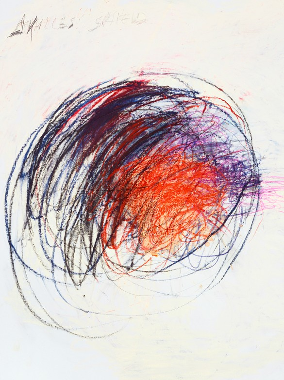 Cy Twombly, Fifty Days at Iliam: Shield of Achilles, 1978 (detail), oil, oil crayon, and graphite on canvas, first of ten parts: 75 ½ × 67 inches (191.8 × 170.2 cm)