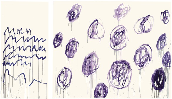 Cy Twombly, Untitled, 2007, acrylic on canvas, left panel: 120 ⅞ × 59 ⅞ inches (307 × 152 cm); right panel: 118 ⅛ × 149 ⅝ inches (300 × 380 cm) © Cy Twombly Foundation