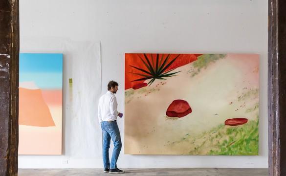 Dan Colen in his studio, Brooklyn, New York, 2018
