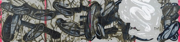 David Reed, #714, 2014–19, acrylic, oil, and alkyd on polyester, 28 × 118 inches (71.1 × 299.7 cm)