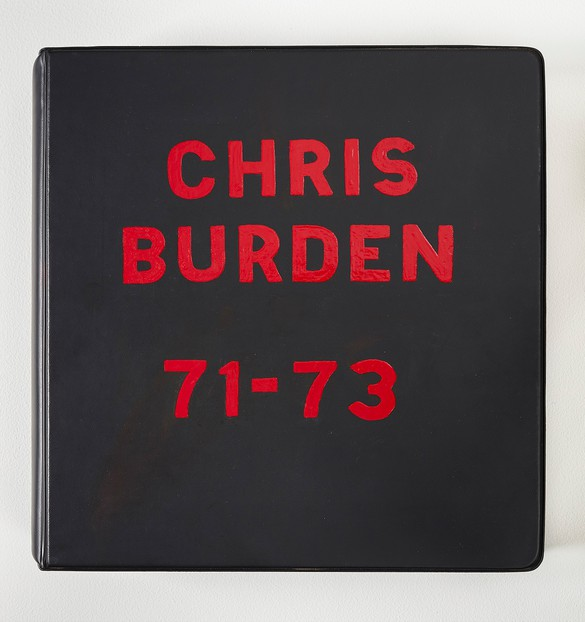 Chris Burden, Chris Burden Deluxe Photo Book 1971–73, 1974, 53 photos in a loose-leaf binder with hand painted cover and cardboard box, 12 × 12 × 3 inches (30.5 × 30.5 × 7.6 cm), edition of 50. Photo by Johnna Arnold