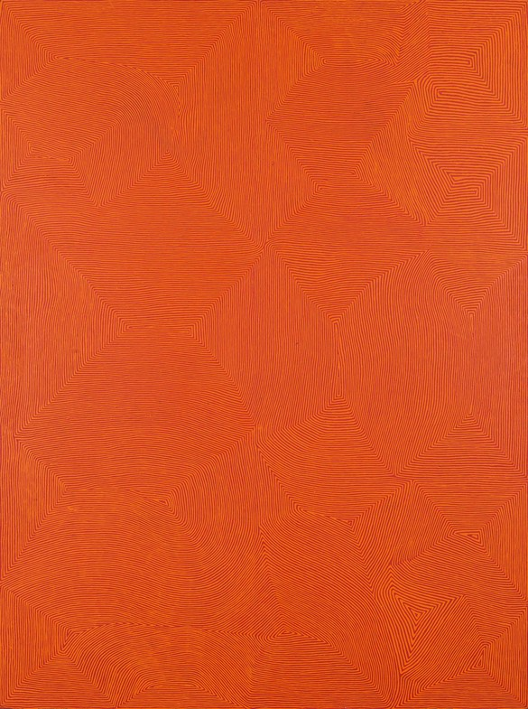George Tjungurrayi, Untitled—Kirrimalunya, 2007, synthetic polymer paint on linen, 96 × 72 inches (244 × 183 cm) © George Tjungurrayi / Copyright Agency