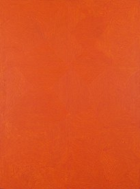 George Tjungurrayi's orange abstract painting Untitled—Kirrimalunya, polymer paint on linen.
