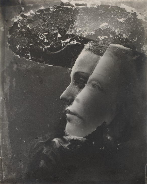 Dora Maar, Double Portrait with Hat, c. 1936–37, gelatin silver print, with montage handwork on negative, 11 ¾ × 9 ⅜ inches (29.8 × 23.8 cm), Cleveland Museum of Art, Gift of David Raymond © Dora Maar/Artists Rights Society (ARS), New York/ADAGP, Paris. Image: courtesy Cleveland Museum of Art
