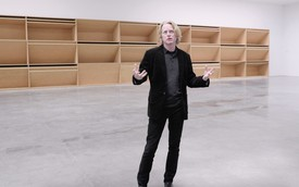 Flavin Judd leading a tour of the exhibition Donald Judd: Artwork: 1980 at Gagosian, 21st Street, New York