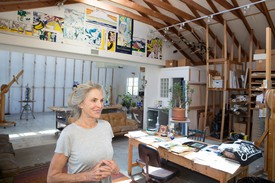 Dorothy Lichtenstein in Roy Lichtenstein's Southampton studio. Photo by Kasia Wandycz/Paris Match via Getty Images