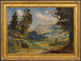 A painting with gold frame by Louis Michel Eilshemius. Landscape with single figure.