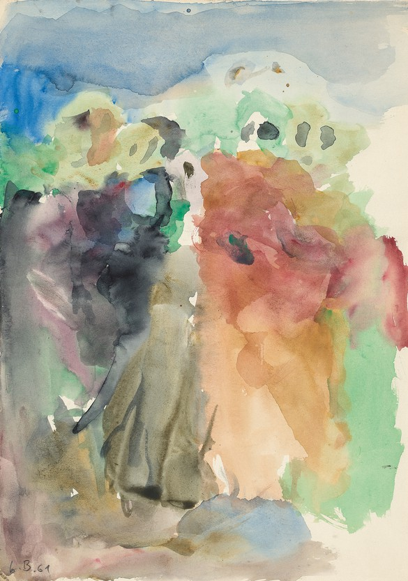 Georg Baselitz, Ohne Titel (nach Pontormo) (Untitled [after Pontormo]), 1961, watercolor on paper, 12⅛ × 8⅝ inches (30.7 × 21.8 cm)