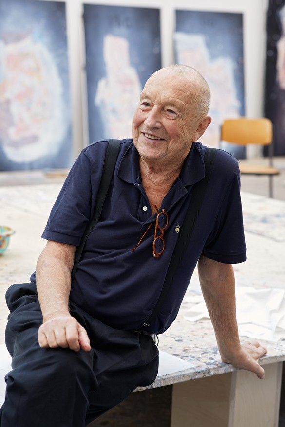Georg Baselitz in his studio, Ammersee, Germany, 2018. Photo: Martin Müller