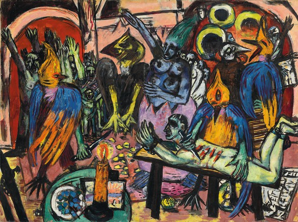 Max Beckmann, Birds' Hell, 1938, oil on canvas, 47 ¼ × 63 ¼ inches (120 × 160.7 cm), Private collection © 2018 Artists Rights Society (ARS), New York/VG Bild-Kunst, Bonn