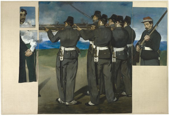 Édouard Manet, The Execution of Maximilian, 1867–68, oil on canvas, 76 × 112 inches (193 × 284 cm), National Gallery, London, Bought 1918