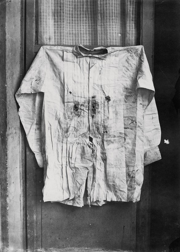 François Aubert, The Shirt of the Emperor, Worn during His Execution, 1867, albumen silver print from glass negative, 8 ¾ × 6 ¼ inches (22.2 × 15.8 cm), Metropolitan Museum of Art, New York, Gilman Collection, Gift of the Howard Gilman Foundation, 2005