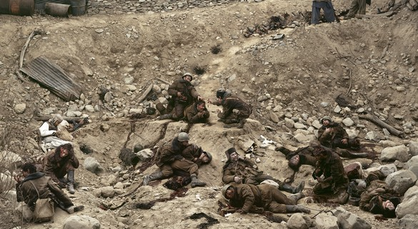 Jeff Wall, Dead Troops Talk (a vision after an ambush of a Red Army Patrol, near Moqor, Afghanistan, winter 1986), 1992, transparency in lightbox, 90 ⅛ × 164 ⅛ inches (229 × 417 cm)