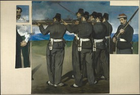 Édouard Manet, The Execution of Maximilian, 1867–68, oil on canvas, 6 feet 4 inches × 9 feet 4 inches (193 × 284 cm). National Gallery, London, Bought 1918.