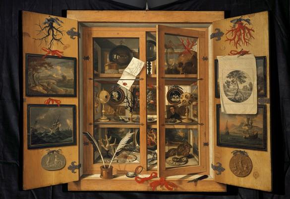 Andrea Domenico Remps, Cabinet of Curiosities, c. 1690, oil on canvas, 39 × 54 inches (99 × 137 cm), Opificio delle Pietre Dure, Florence, Italy. Photo: Scala/Art Resource, New York