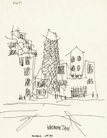 Frank Gehry, drawing for mixed-use urban redevelopment proposal, Central Business District, Kalamazoo, Michigan, 1981. Image: courtesy Gehry Partners, LLP