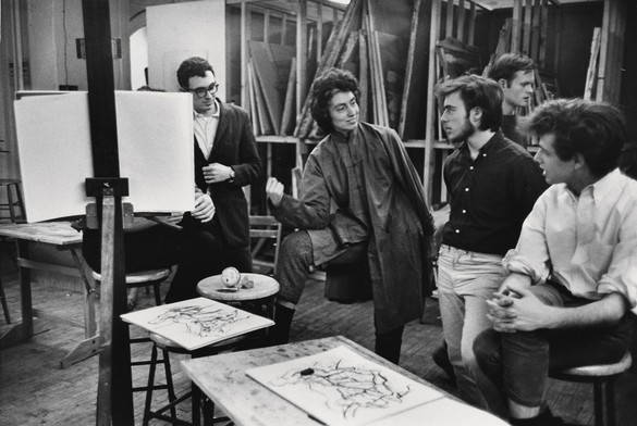 Mercedes Matter with students at the New York Studio School. Photo: Herbert Matter, courtesy Department of Special Collections, Stanford University Libraries