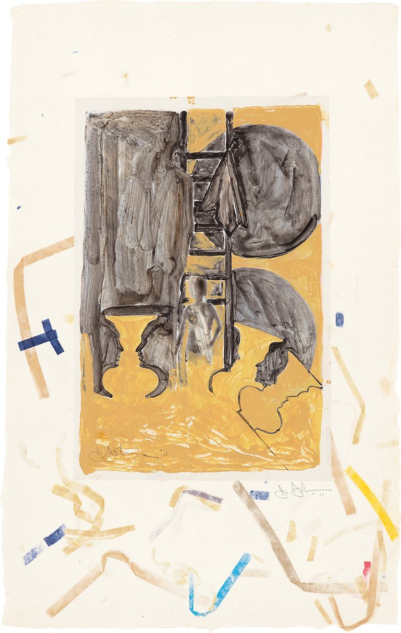 """Jasper Johns, Untitled, 2011, acrylic over intaglio on paper mounted on Fred Siegenthaler """"confetti"""" paper, 11 ¾ × 7 ¾ inches (29.8 × 19.7 cm) © 2019 Jasper Johns/Licensed by VAGA at Artists Rights Society (ARS), New York. Photo: courtesy Menil Collection, Houston"""