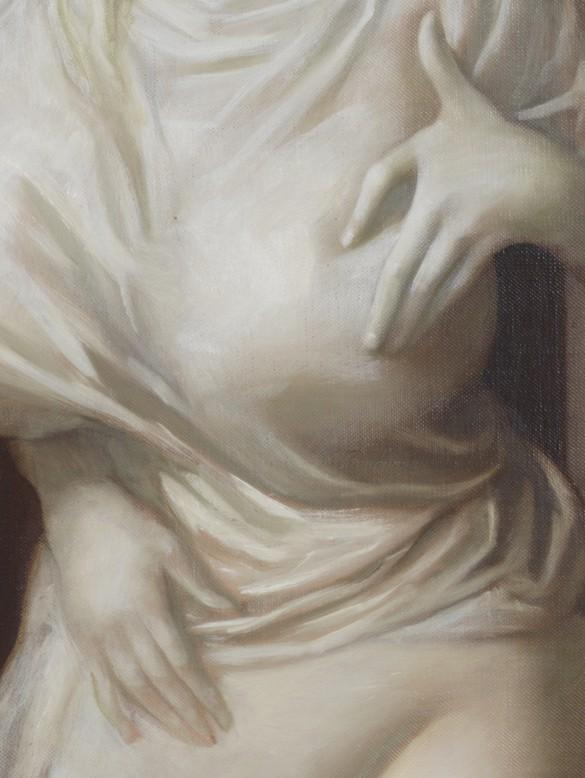 John Currin, Memorial, 2020 (detail), oil on canvas, 62 × 40 inches (157.5 × 101.6 cm)