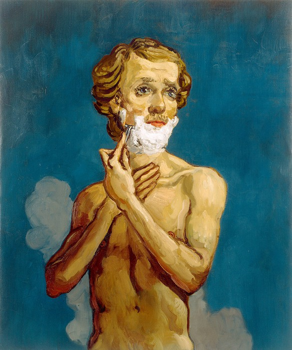 John Currin, The Shaving Man, 1993, oil on canvas, 36 × 30 inches (91.4 × 76.2 cm), Private collection. Photo: courtesy Andrea Rosen