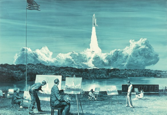 Mark Tansey, Action Painting II, 1984, oil on canvas, 76 × 110 inches (193 × 279.4 cm) © Mark Tansey