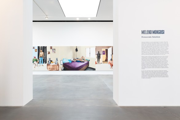 Installation view, Meleko Mokgosi: Democratic Intuition, Gagosian, Britannia Street, London, September 29–December 12, 2020