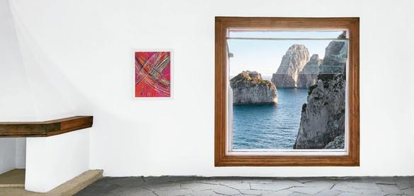 Installation view, Mark Grotjahn at Casa Malaparte, Capri, Italy, July 3, 2016. Artwork © Mark Grotjahn. Casa Malaparte © Malaparte Literary Estate. Photo: Tom Powel Imaging