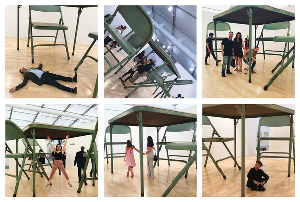 Robert Therrien, No title (folding table and chairs, green), 2008, installation views, Frieze New York, 2018