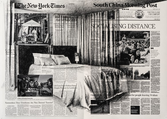 """Tatiana Trouvé, April 4th, """"The New York Times,"""" USA; April 11th, """"South China Morning Post,"""" China, from the series From March to May, 2020, inkjet print and pencil on paper, 19 ⅞ × 26 ¾ inches (50.4 × 68 cm)"""