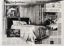 Tatiana Trouvé, April 4th, The New York Times; April 11th, South China Morning Post, China from the series From March to May, 2020, inkjet print and pencil on paper, 19 ⅞ × 26 ¾ inches (50.4 × 68 cm)