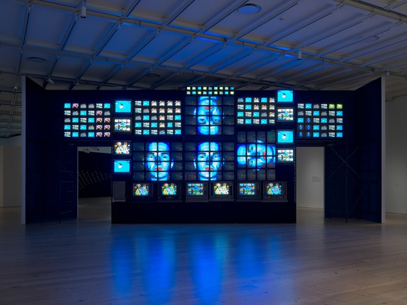 Nam June Paik, Fin de Siècle II, 1989 (partially restored, 2018), seven-channel video installation, 207 televisions, sound, 168 × 480 × 60 inches (426.7 × 1219.2 × 152.4 cm), Whitney Museum of American Art, New York, gift of Laila and Thurston Twigg-Smith. Installation view, Programmed: Rules, Codes, and Choreographies in Art, 1965–2018, Whitney Museum of American Art, New York, September 28, 2018–April 14, 2019