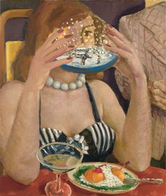 Oil on linen linen painting by Dennis Kardon, titled Transfixed by the Past, depicting a woman holding a snow globe in front of her face seated at a dining table.