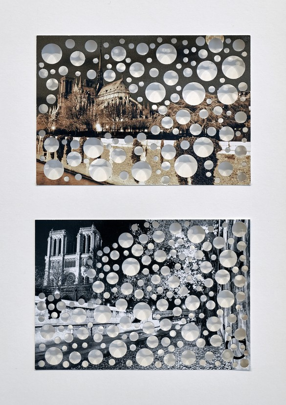 Rachel Whiteread, Untitled (Notre-Dame), 2019, punched holes on postcard, in 2 parts, framed: 15 × 11 ⅝ × 1 ⅝ inches (38 × 29.5 × 4 cm) © Rachel Whiteread. Photo: Thomas Lannes