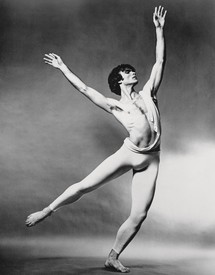 Black and White photo of Vincent Warren dancing in Catulli Carmina, c. 1969.