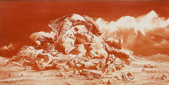 Mark Tansey, Landscape, 1994, oil on canvas, 71 ½ × 144 inches (181.6 × 365.8 cm) © Mark Tansey