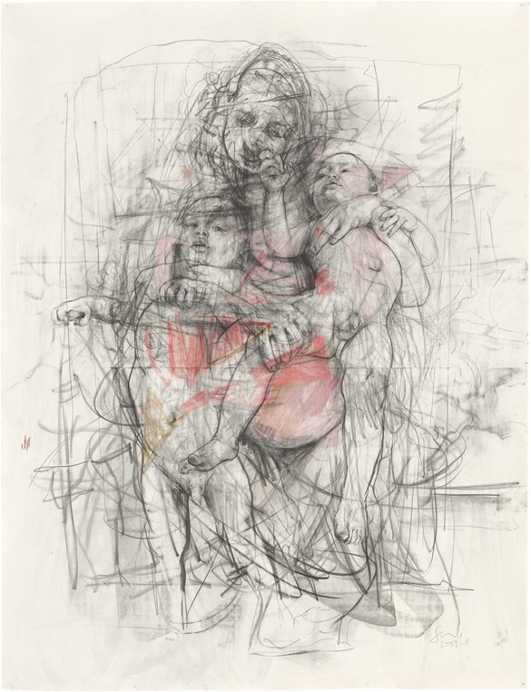 Jenny Saville, Study for Pentimenti I, 2011, graphite and pastel on paper, 76 ⅜ × 58 ¼ inches (194 × 148 cm) © Jenny Saville