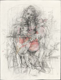 Jenny Saville, Study for Pentimenti I, 2011, graphite and pastel on paper.