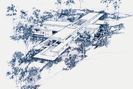 Frank Gehry, Steeves House, perspective from valley side, reproduction of original drawing