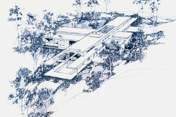 Frank Gehry, Steeves House, Los Angeles, California, 1958–59: perspective from valley side, reproduction of original drawing