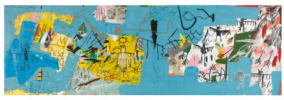 Jean-Michel Basquiat, Untitled (L.A. Painting), 1982, acrylic, oilstick, Xerox copies, collage, marker, and spray paint on canvas, 67 × 205 inches (170.2 × 520.7 cm) © The Estate of Jean-Michel Basquiat. Licensed by Artestar, New York. Photo by Rob McKeever