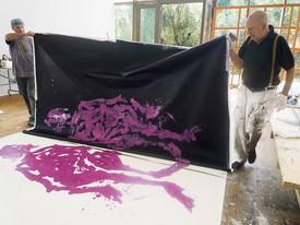 Georg Baselitz working on Madame Demoisielle weit weg von der Küste (Madame Demoiselle a long way from the coast)