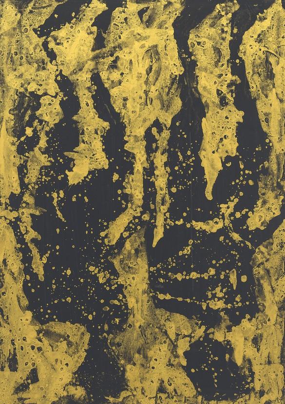 Georg Baselitz, Da sind zwei Figuren im alten Stil (That's two figures in the old style), 2019, oil and painter's gold varnish on canvas, 118⅛ × 83½ inches (300 × 212 cm)
