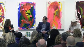Glenn Fuhrman and Lawrence Weiner at the Gagosian Shop, New York, speaking onstage with Sarah Douglas.