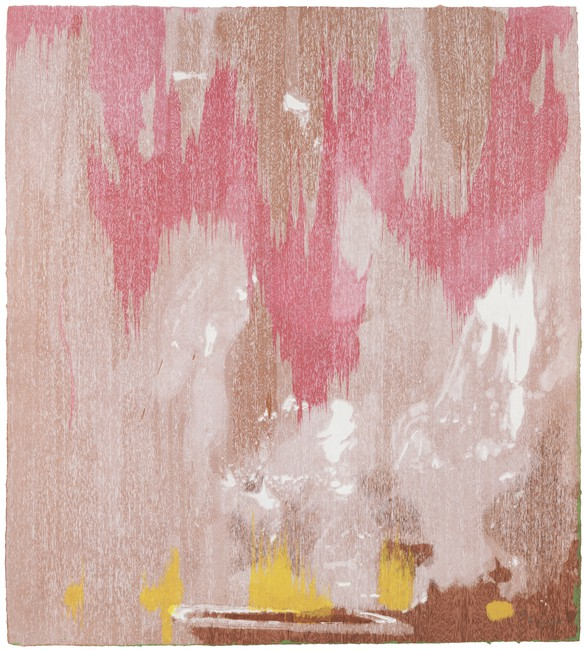 Helen Frankenthaler, Tales of Genji IV, 1998, twenty-one-color woodcut from twelve woodblocks and one stencil on handmade paper, 47 × 42 inches (119.4 × 106.7 cm)