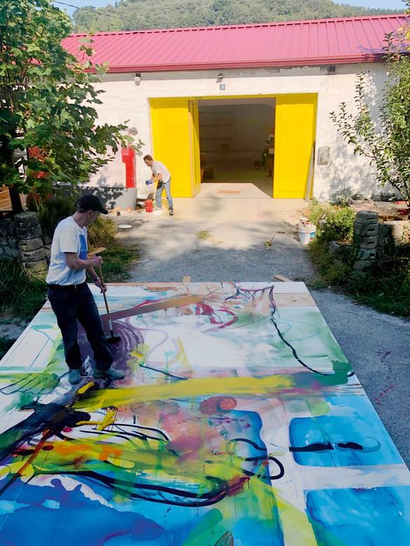 Albert Oehlen's studio, Ispaster, Spain, 2019–20. Photo © Esther Freund