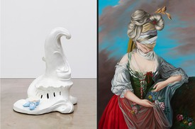 Left: Rachel Feinstein, Corine, 2018 © Rachel Feinstein. Photo: Jeff McLane. Right: Ewa Juszkiewicz, Untitled (after Elisabeth Vigée Le Brun), 2021 © Ewa Juszkiewicz
