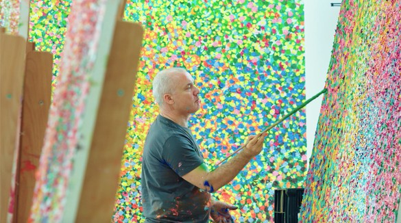 In The Studio Damien Hirst S Veil Paintings Interview Gagosian Quarterly